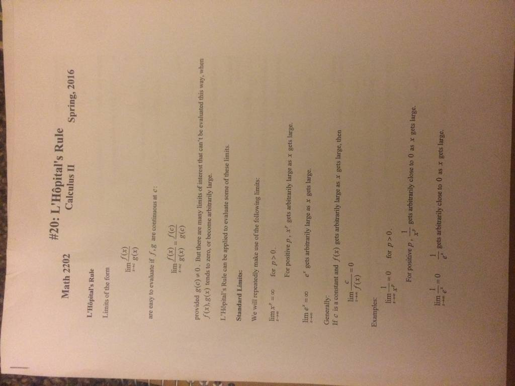 Calc 2 19 Questions On L Hopital S Rule And Improper