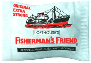 A packet of Fisherman's Friend throat lozenges
