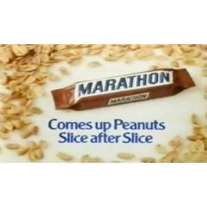 An old British advert for Marathon chocolate bars.