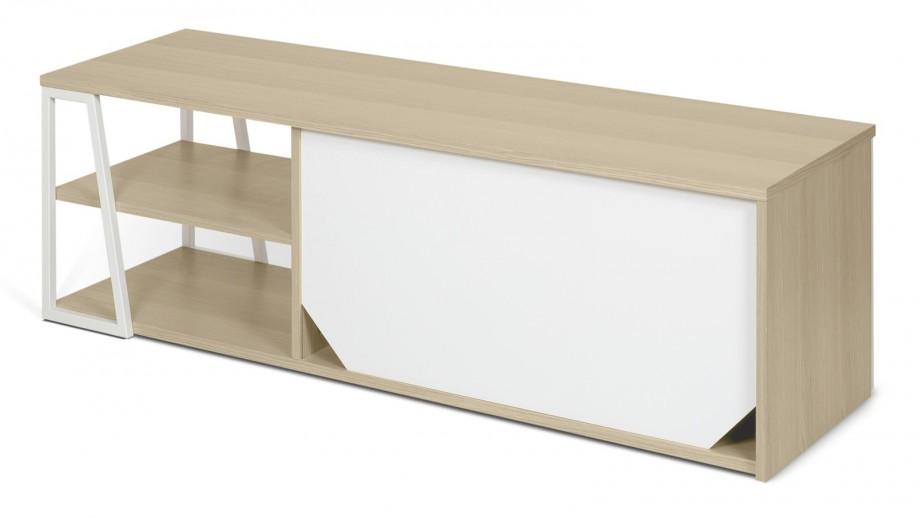 meuble tv 2 niches 2 portes en bois clair et blanc collection albi temahome