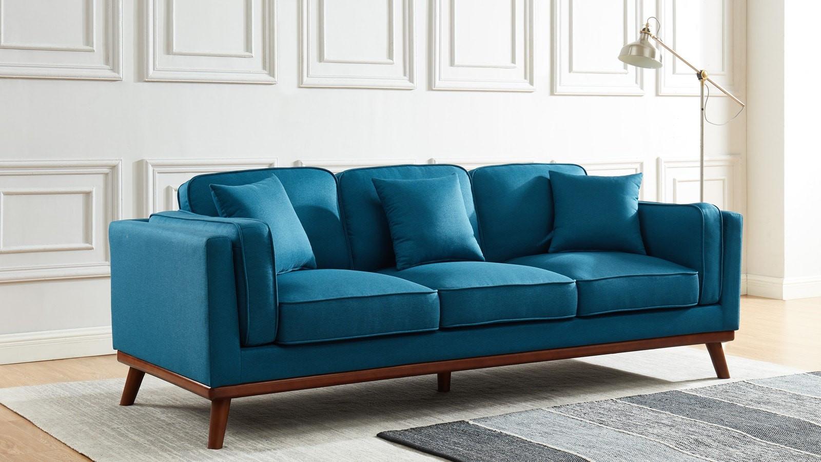 canape droit 3 places en tissu bleu