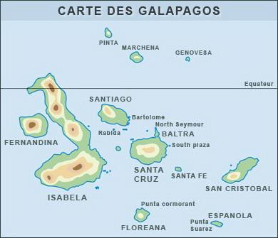 Carte des îles Galapagos