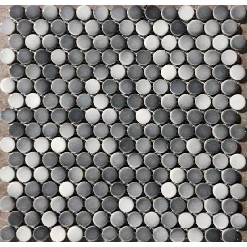 penny round porcelain grey white tile