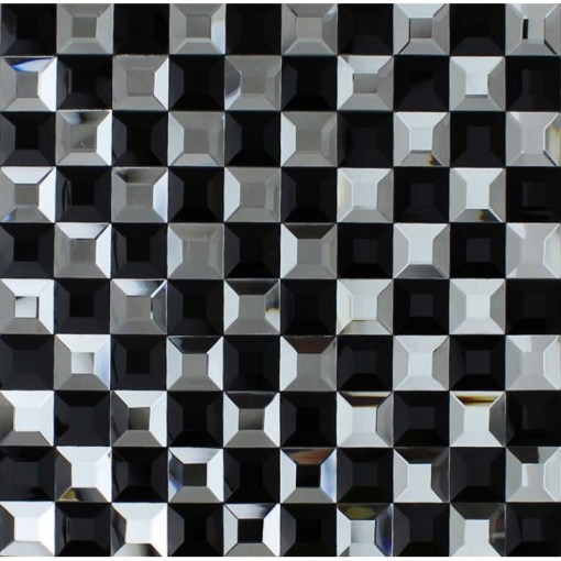 Black and Silver Glass Mosaic Tile 3D Pyramid Crystal Backsplash Tiles Black and Silver Glass Mosaic Tile Crystal Backsplash 3D Pyramid Pattern  Bathroom Wall Tiles