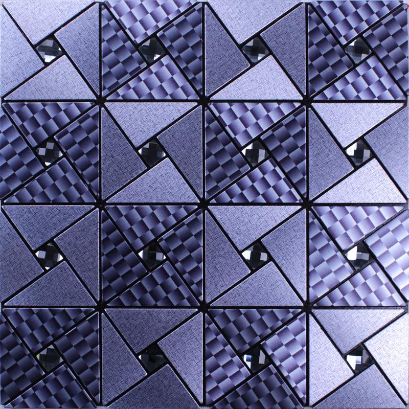 metallic mosaic tile grey square