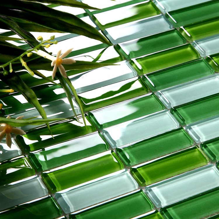 crystal glass tile brick strip kitchen backsplash tiles green glass mosaic wall stickers bathroom tile designs 102