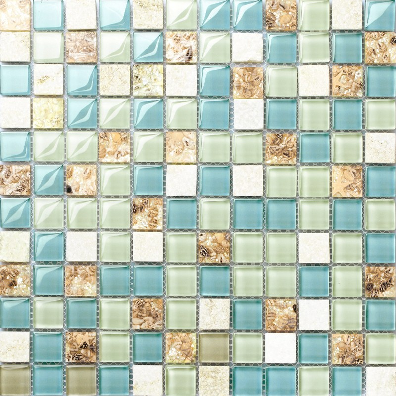 blue green glass and white stone mosaic resin conch tile beach