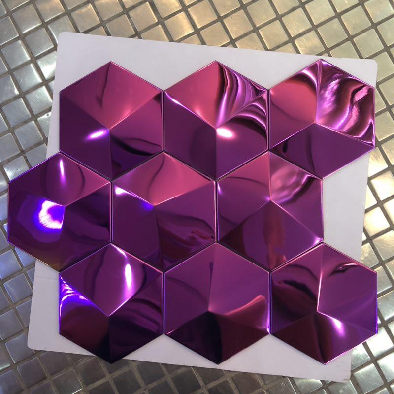 hexagon 304 stainless steel tile backsplash bar mosaic tile hotel tile