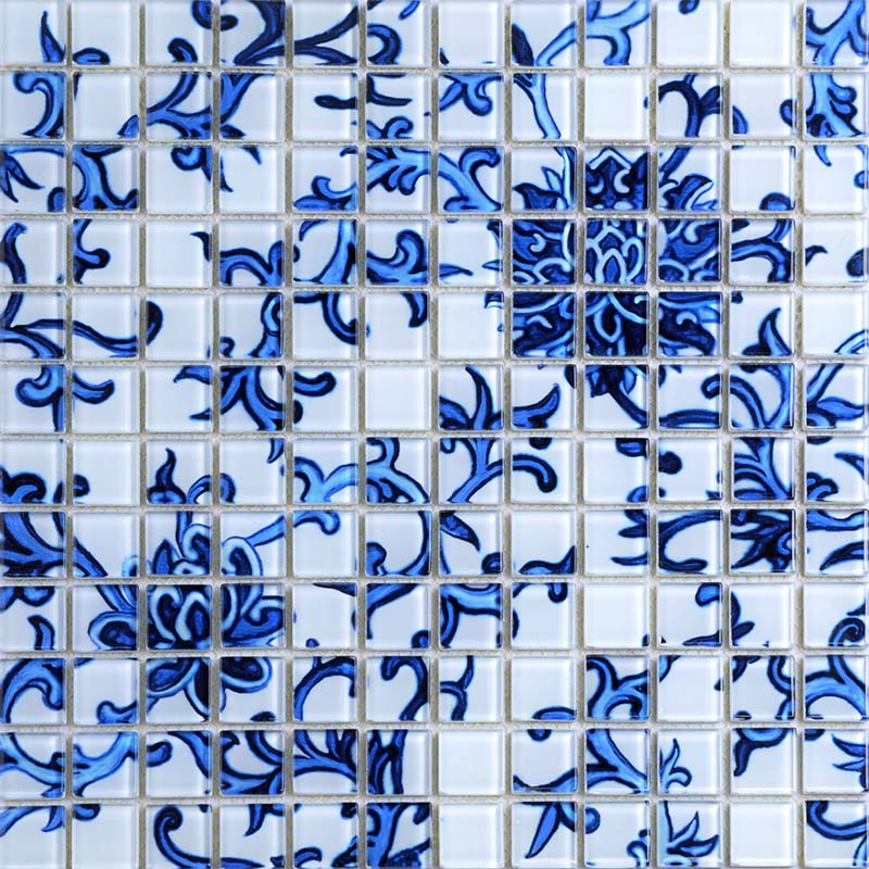crystal glass tile blue white puzzle mosaic tile crackle crystal backsplash kitchen mosaic wall tiles sm111