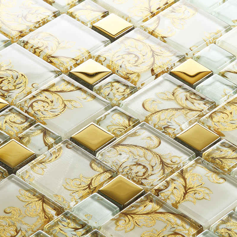 white with gold crystal glass mosaic tile 304 stainless steel tile art design free shipping sblt109