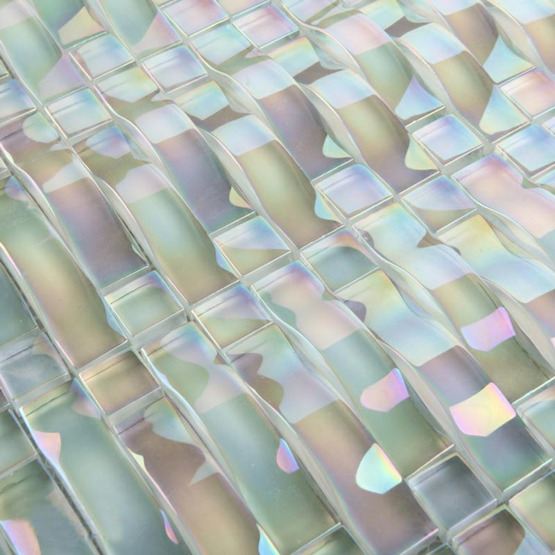 glass mosaic tile interlocking arched crystal glass tile backsplash yf 89 iridescent wall tiles