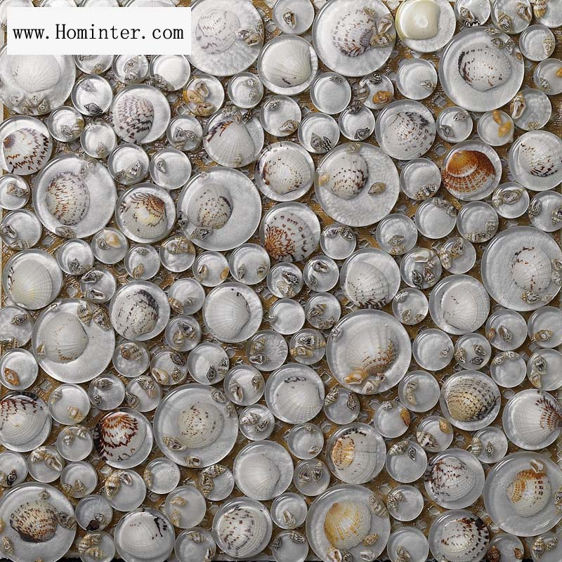 glass mosaic resin conch tiles backsplash penny round chips bathrooms