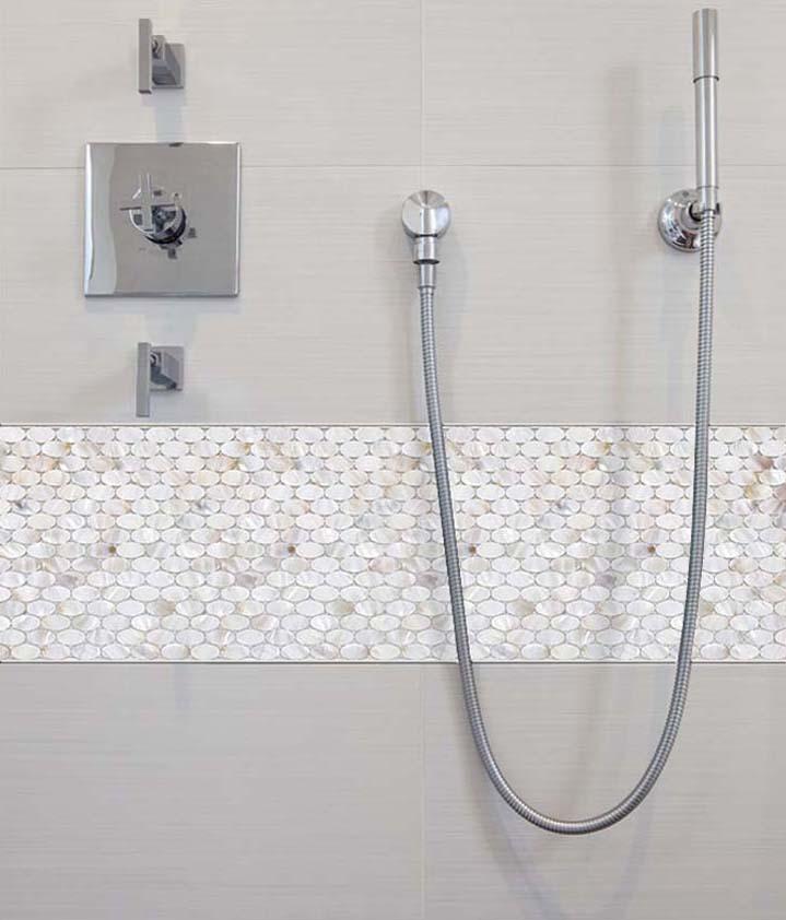 pearl tile mirror backsplash liner wall