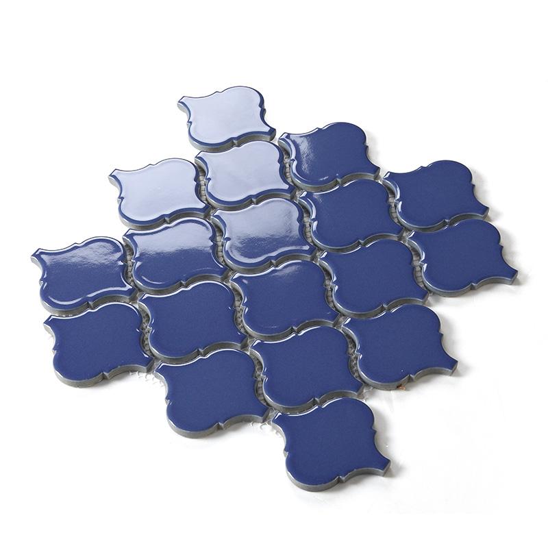 waterjet tiles backsplash dark blue porcelain lantern mosaic tile