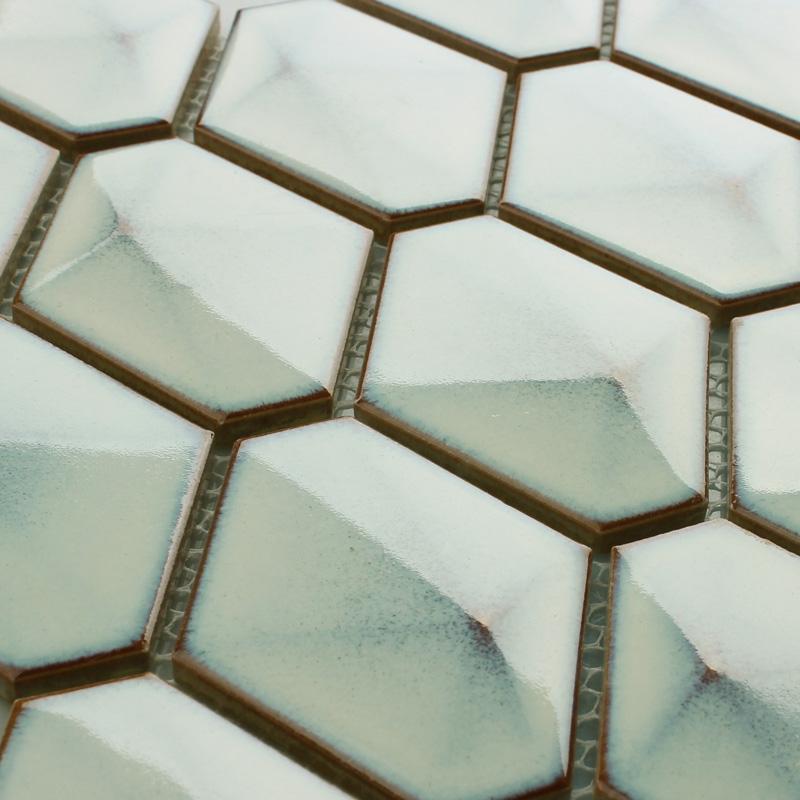 Beige Porcelain Bathroom Wall Tiles Backsplash Hexagon