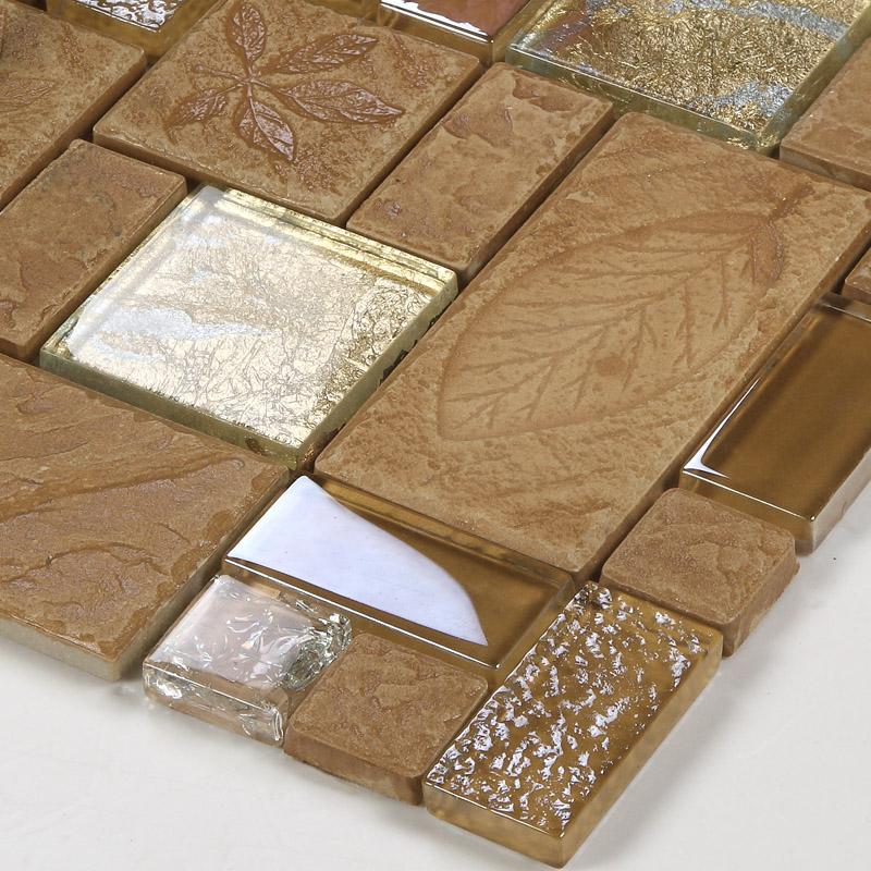 wholesale porcelain glass tile wall backsplash tan crystal art strip design mosaic tiles kitchen wall crackle