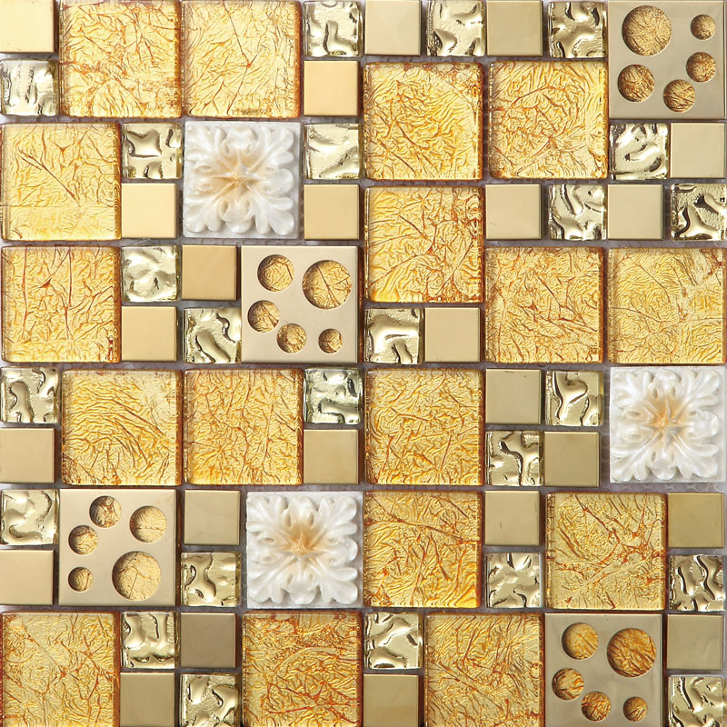 Gold Crystal Glass Mosaice Tile 304 Stainless Steel FREE