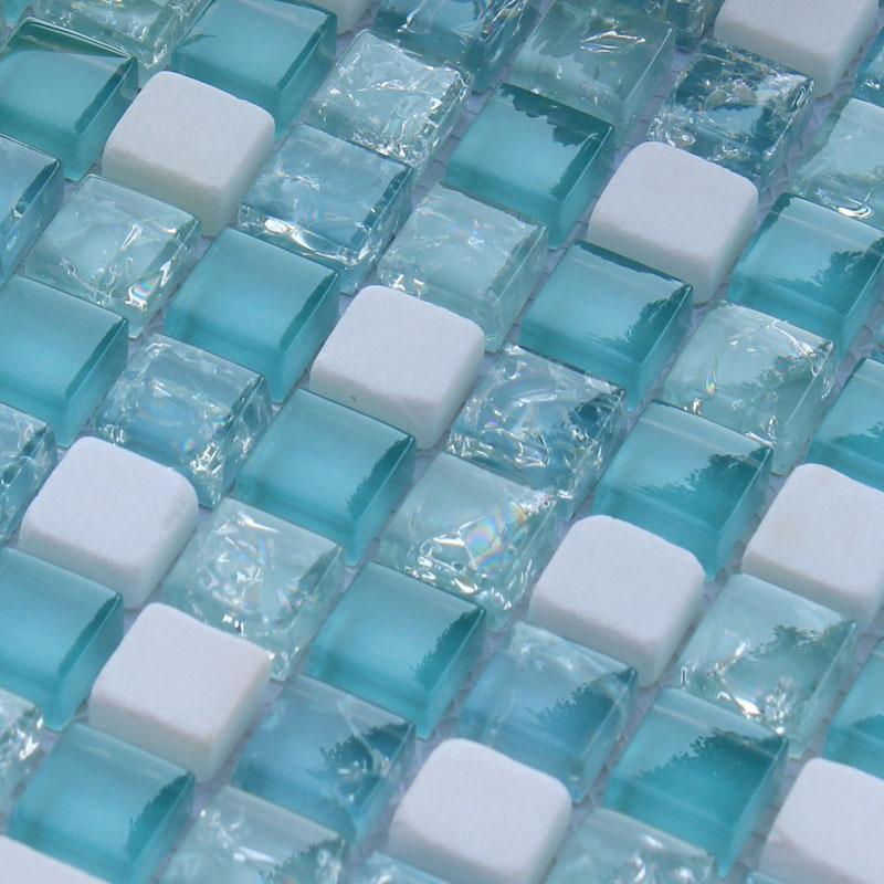 cream stone crackle crystal tile backsplash blue glass mosaic floor