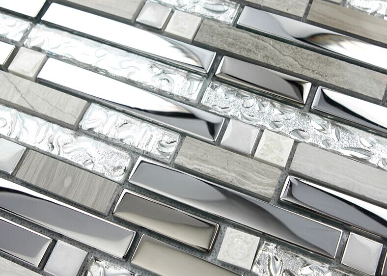 silver stainless steel and glass tile textured marble stone mosaics