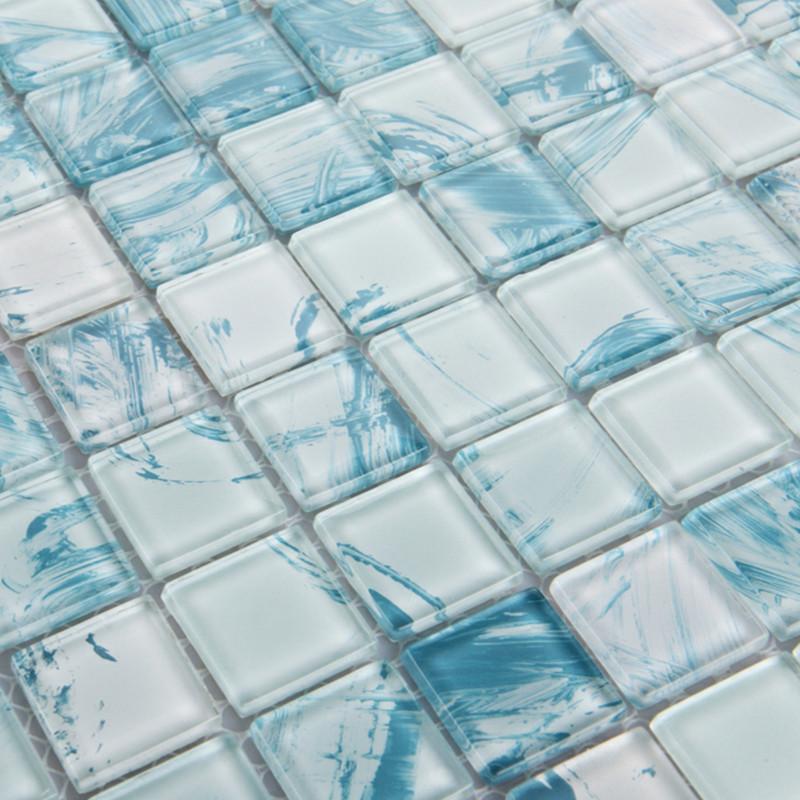 wholesale mosaic tile crystal glass backsplash dinner design bathroom wall floor tiles white with blue painted