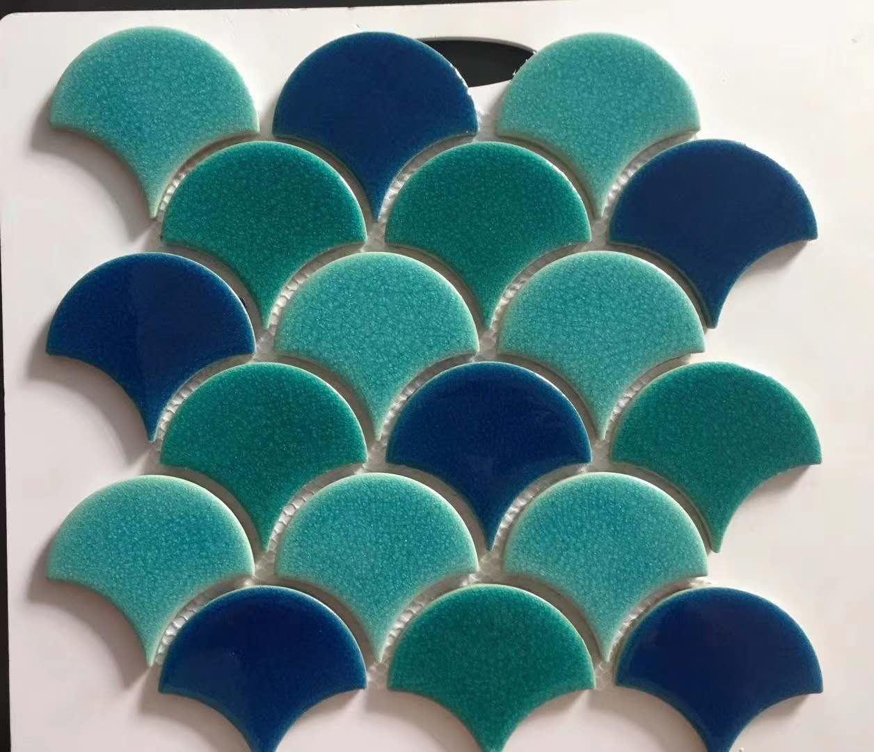 fish scale glazed porcelain tile bathroom backsplash mosaic wall tiles