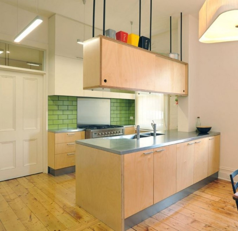 Simple Small Kitchen with Suspended Cabinets