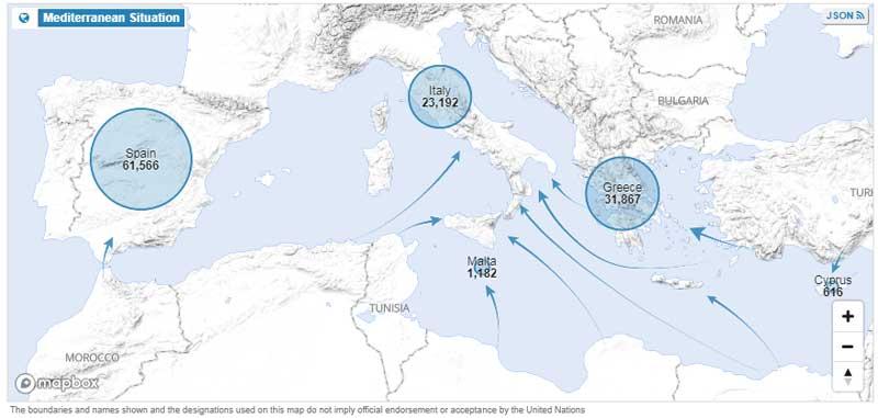 Refugiados llegados a Europa en 2018