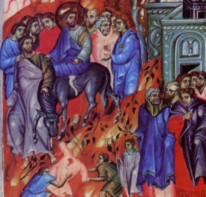 Ingresso messianico di Gesù (Miniatura di scuola bolognese del sec. XIII)