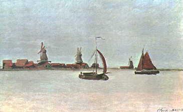 """Monet:  """"Paesaggio con mulini a vento"""""""