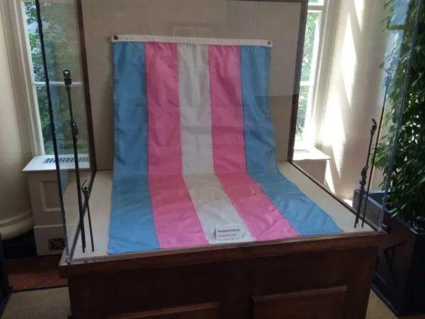 Bandera trans exhibida en el museo Smithsonian