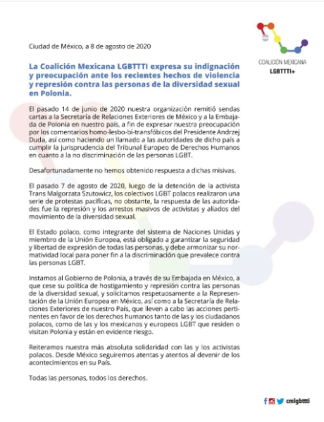 Comunicado de la Coalición Mexicana LGBTTTI sobre la situación de la comunidad LGBT+ en Polonia.