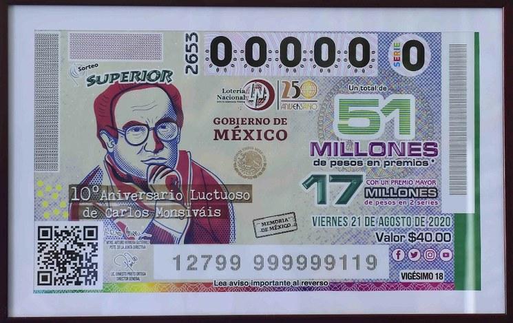 Lotería Nacional conmemorará con billete a Carlos Monsiváis.