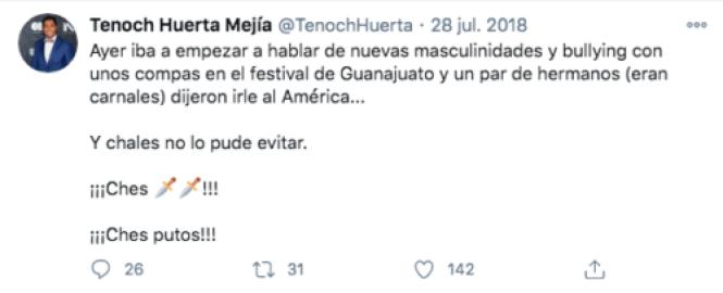 Tenoch Huerta homofóbico tuit