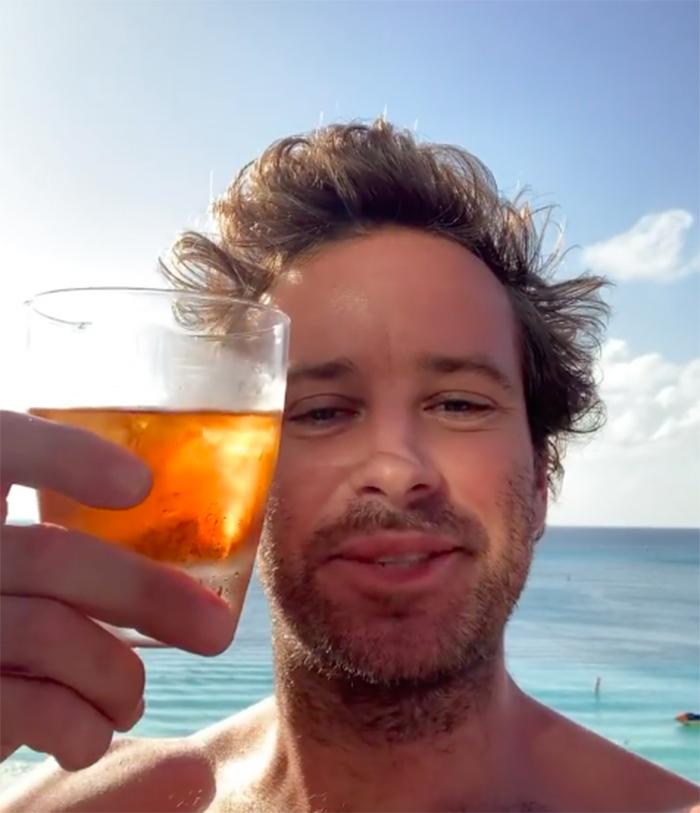 Armie Hammer alcohol instagram foto