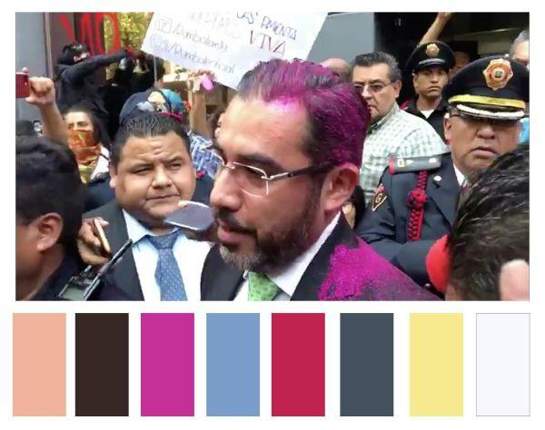 Colectivos arrojan glitter a Jesús Orta, entonces secretario de Seguridad Ciudadana