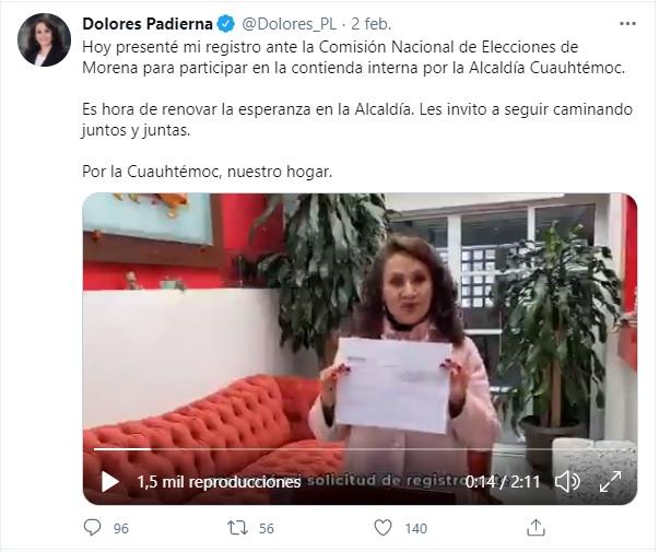 Dolores Padierna precandidata a la alcaldía Cuauhtémoc
