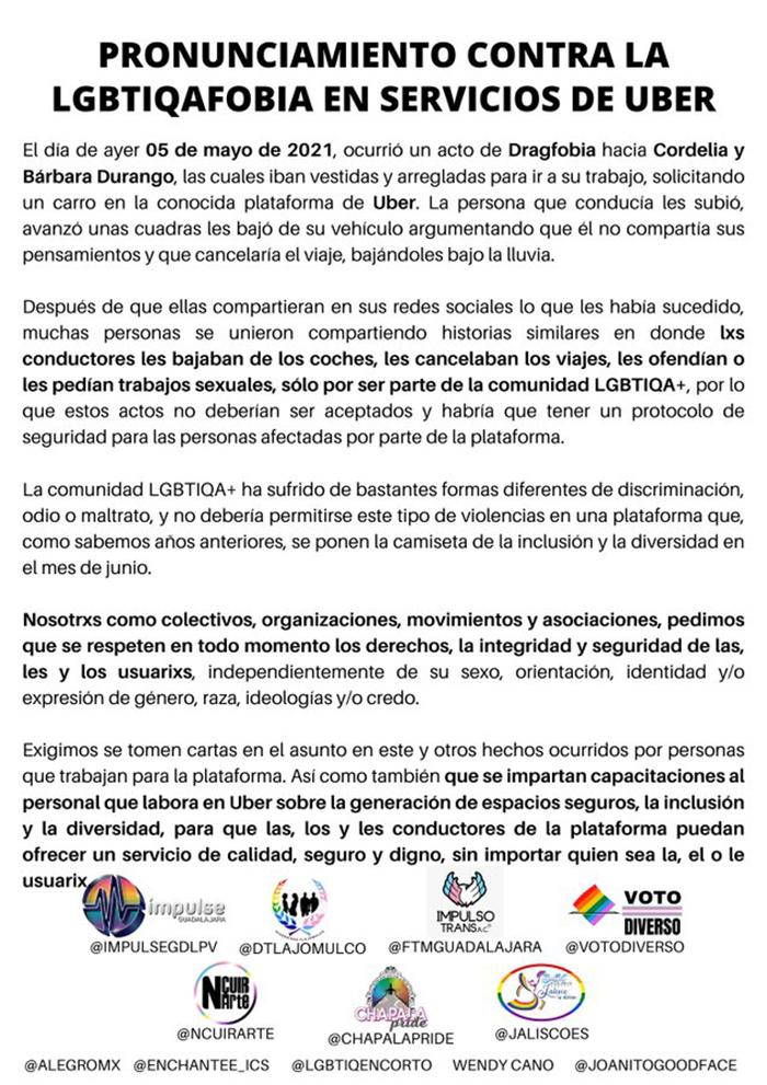 PRONUNCIAMIENTO CONTRA UBER OFICIAL