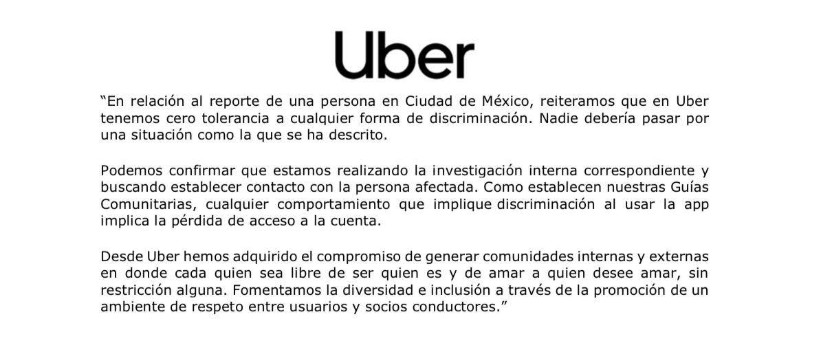 uber postura comunicado