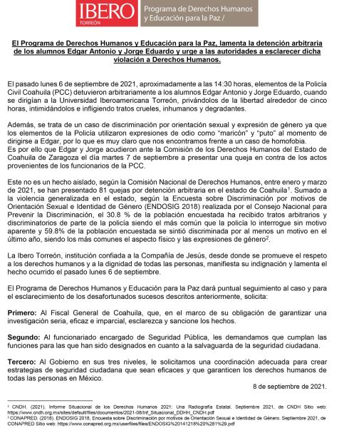 comunicado ibero torreon coahuila estudiantes policía homofobia maricón puto agresiones lgbt septiembre 2021