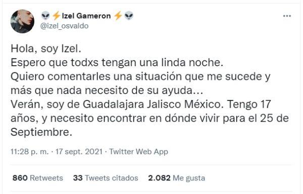 Izel Muñoz Vidal chico bisexual de Guadalajara busca hogar
