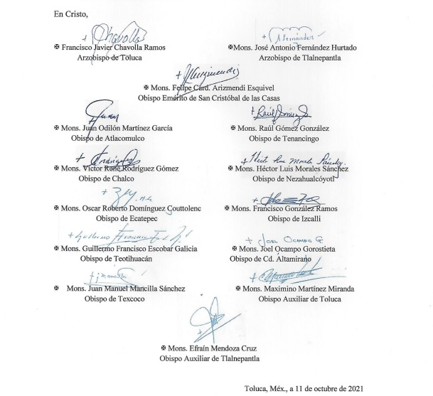 Obispos y arzobispos de Iglesia católica de Edomex se oponen a matrimonio igualitario