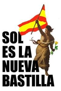 Cartel de Homo Velamine para el 15M. La bandera de España fue duramente criticada por la izquierda-derecha.
