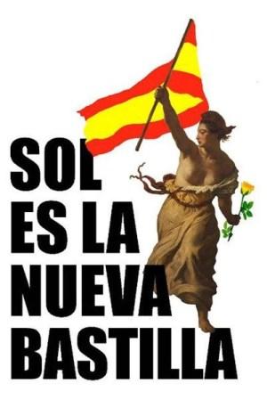 Cartel de Homo Velamine para el 15M. La bandera de españa fue duramente criticada por la izquierda carcundante.
