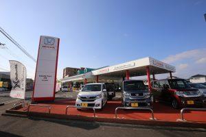 多くの試乗車両が揃うホンダカーズ宮崎・花ヶ島南店。Moduloパーツ装着実績も多く、人気のステップワゴンModulo Xの試乗車両も用意されている