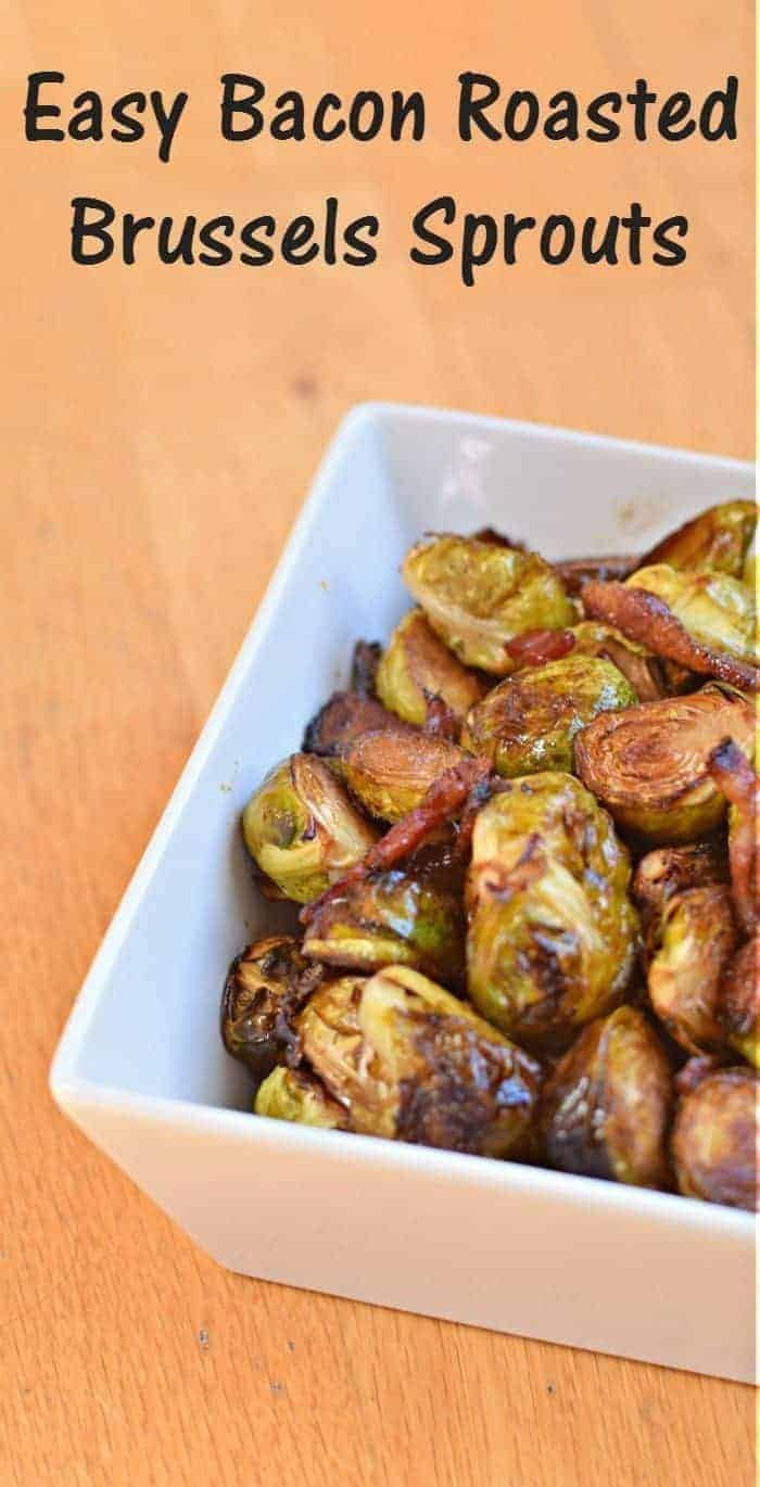 Delicious and easy bacon roasted Brussels sprouts recipe with caramelized balsamic. Simple gluten free and dairy free recipe that is the perfect delicious side dish.