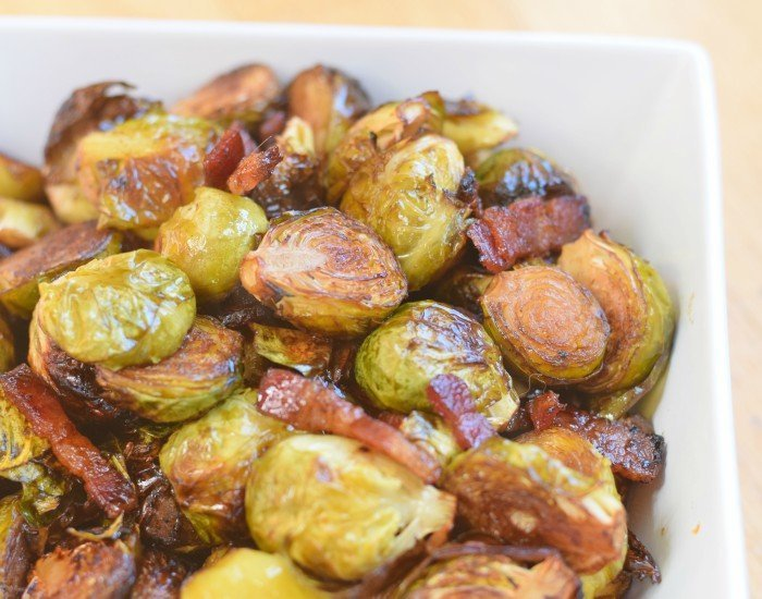 Delicious balsamic infused bacon roasted brussels sprouts