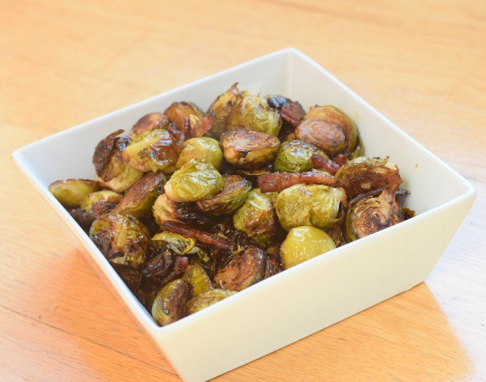 Fully cooked bacon roasted Brussels sprouts
