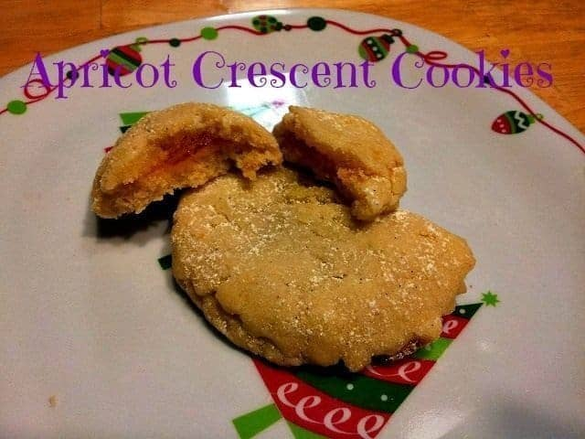 Apricot Crescent Christmas Cookies on a plate