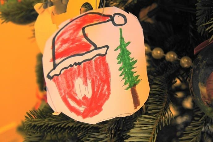 Red Puffle ornament wearing Santa hat