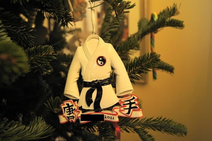 Mister Man's ornament featuring a tae kwon do black belt